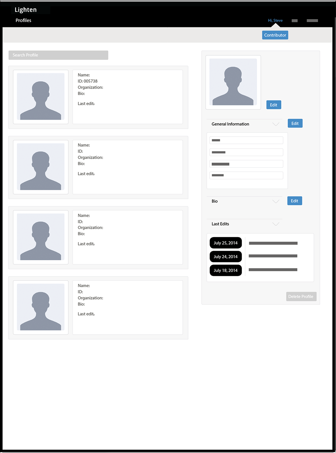 Administrator multiple profile management screen.