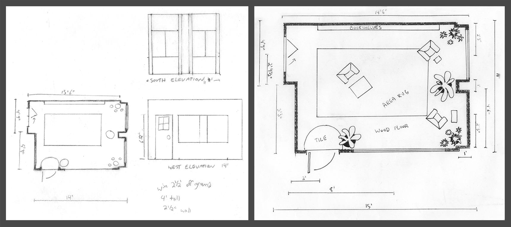 Elevation and floor plan drawings, graphite on vellum.