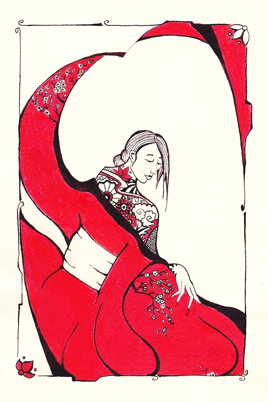 Tattooed Lady,  ink on paper, bookplate.