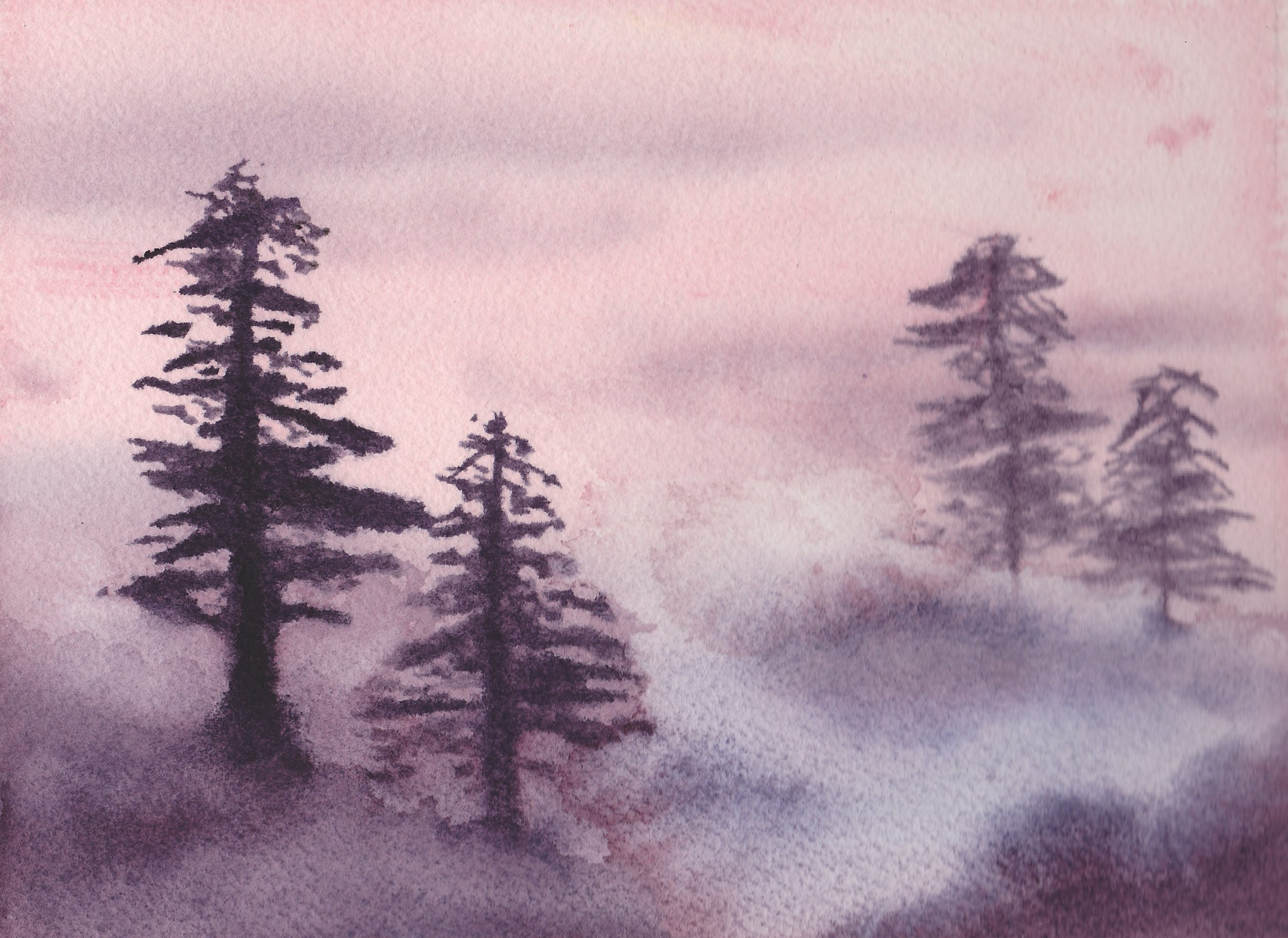 Fog , watercolor sketch.