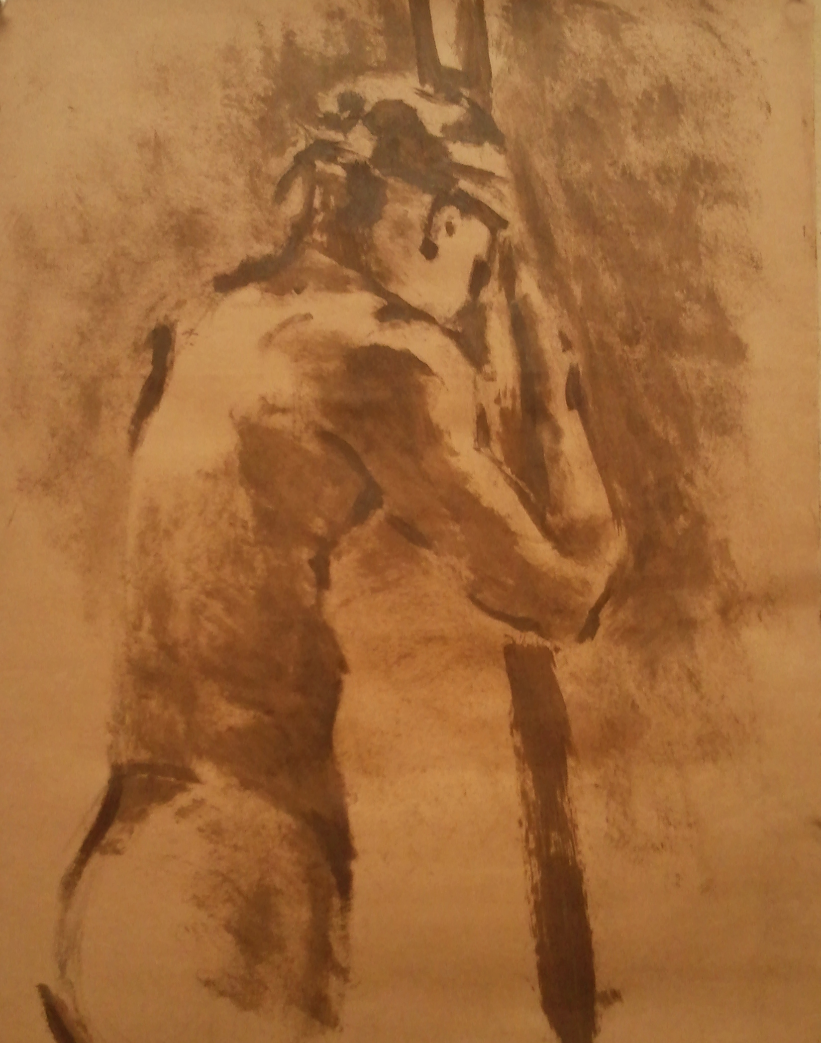 Male Figure , oil on paper.