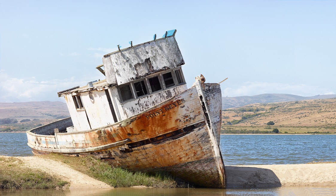 Beached Boat, Inverness, CA
