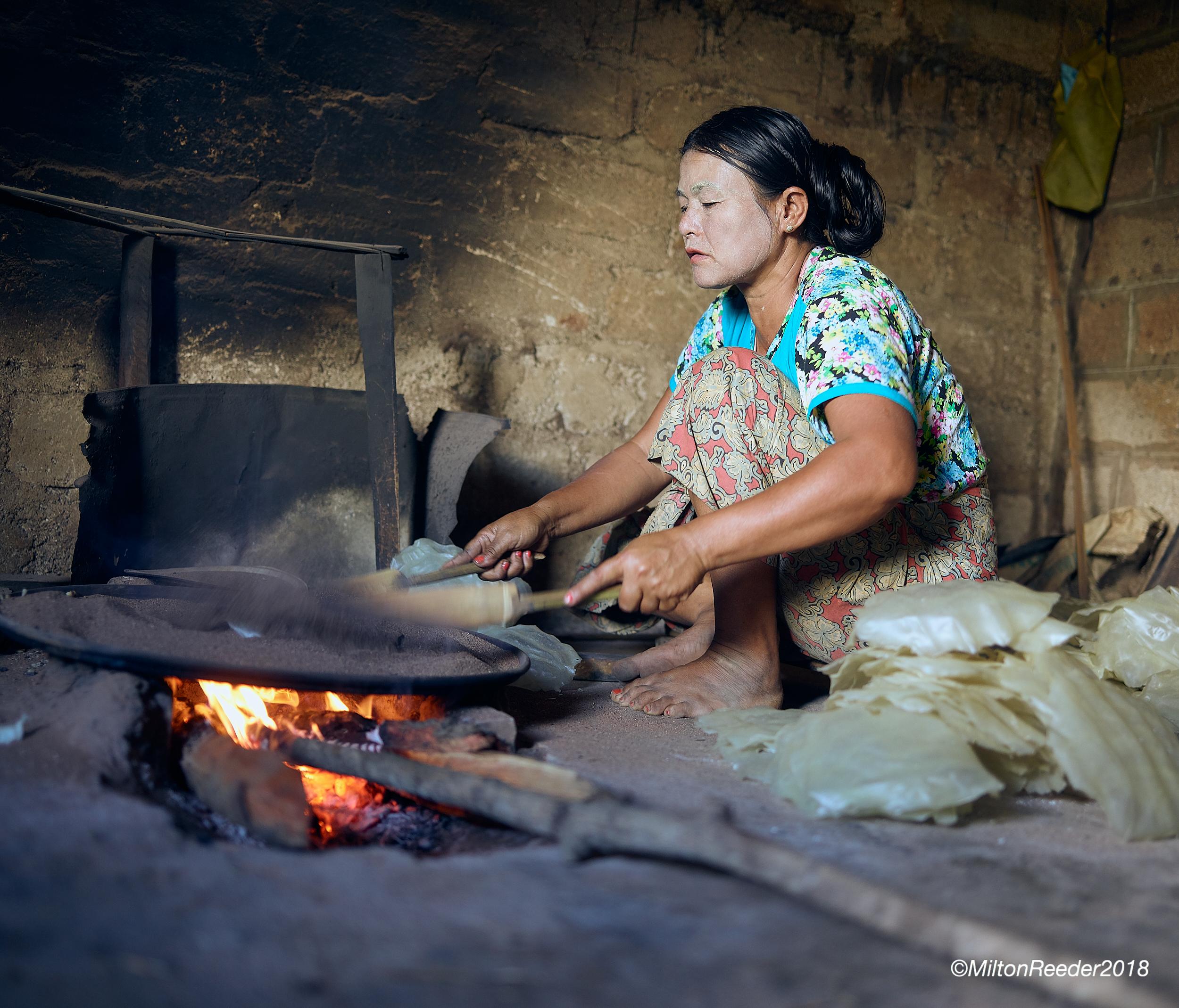 Woman Cooking Rice Cakes, Inle Lake, Myanmar
