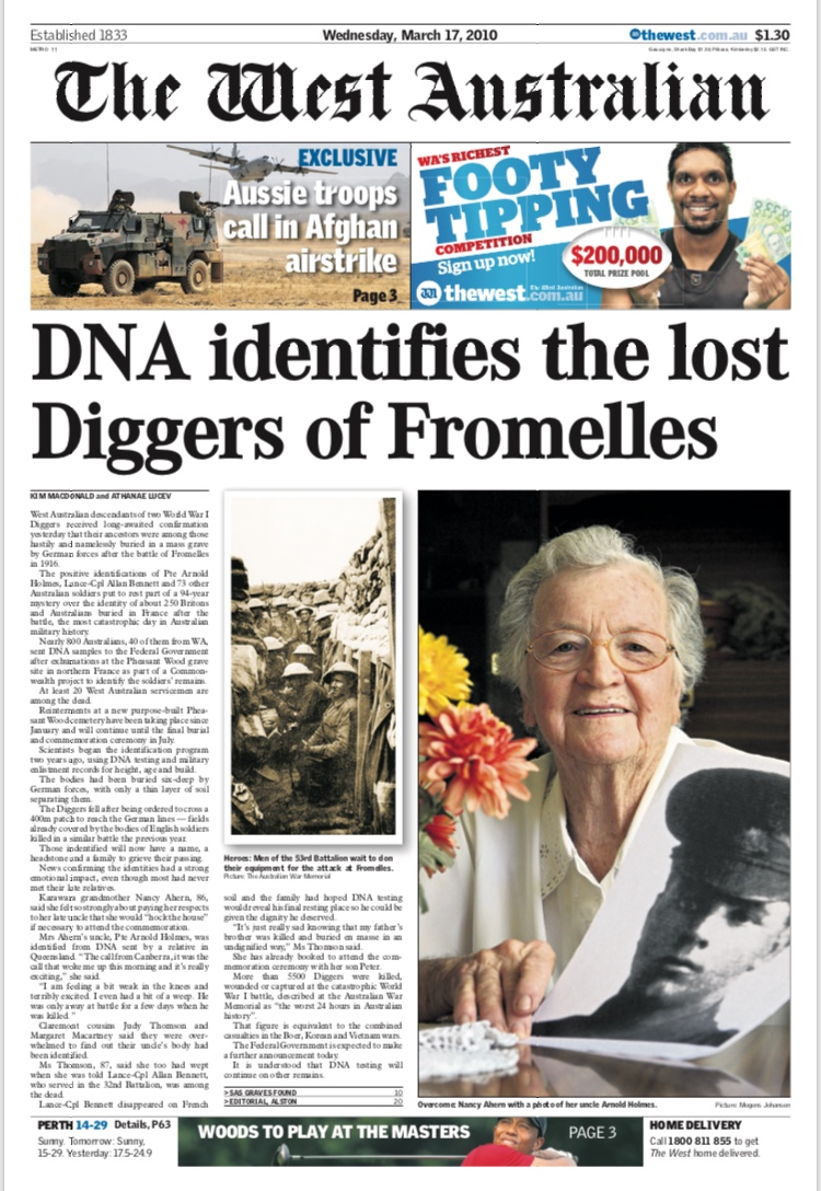 DNA identifies the lost Diggers of Fromelles - THE WEST AUSTRALIAN