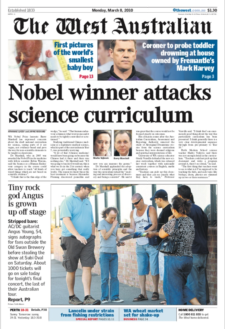 Nobel winner attacks science curriculum - THE WEST AUSTRALIAN