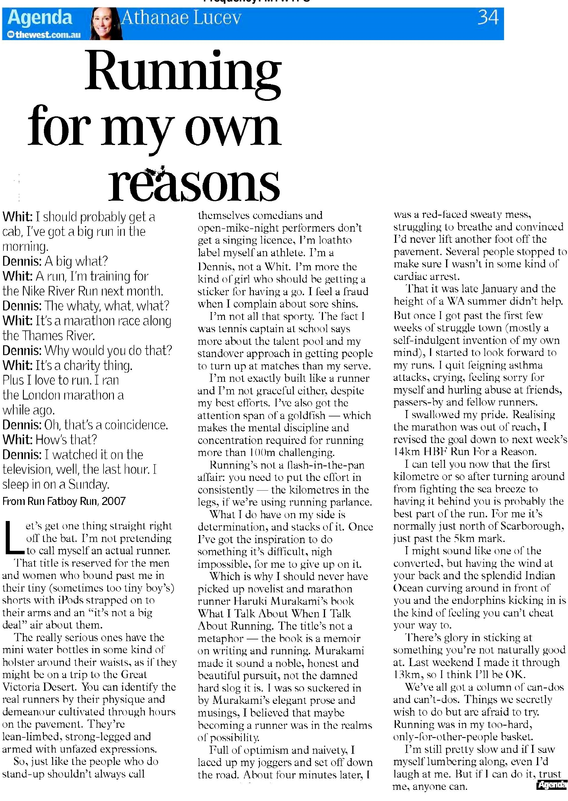Running for my own reasons - THE WEST AUSTRALIAN - AGENDA
