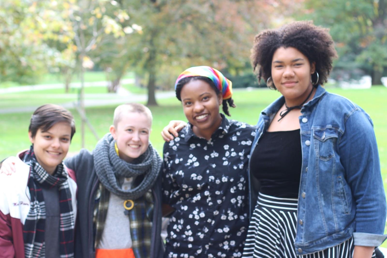 (left to right) Sebastian '21, Gretchen Trupp '18, Maya Henry '20, Chioma Anomnachi '21