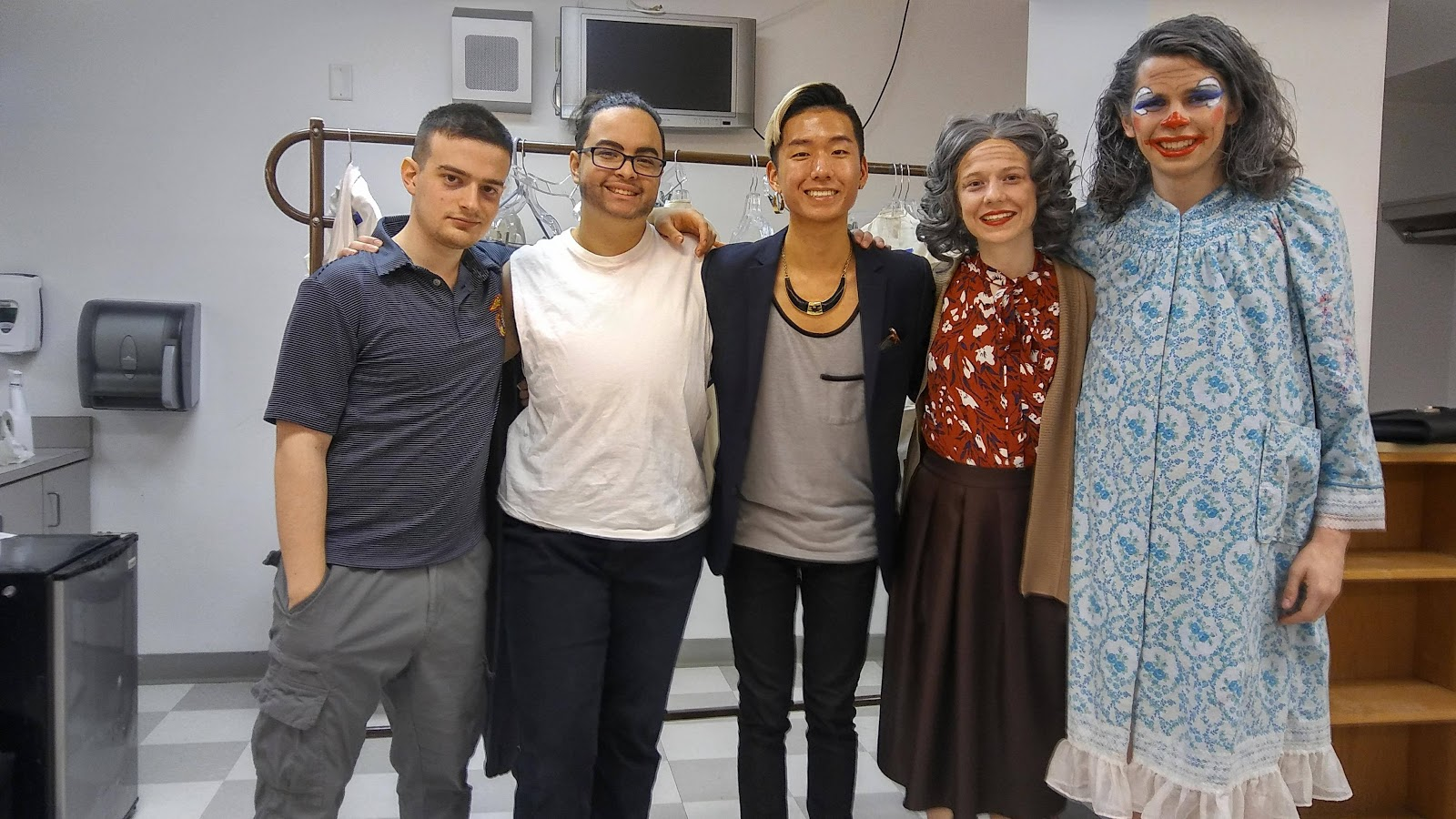 Pictured (from left to right): Oliver Lipton '18 as Isaac, Victoria/Abbas Lee-A-Yong '21 as Max, Director Wesley Han '18, Alex Kingsley '20 as Paige, and Jack McManus '21 as Arnold. Photograph provided by Lee-A-Yong.
