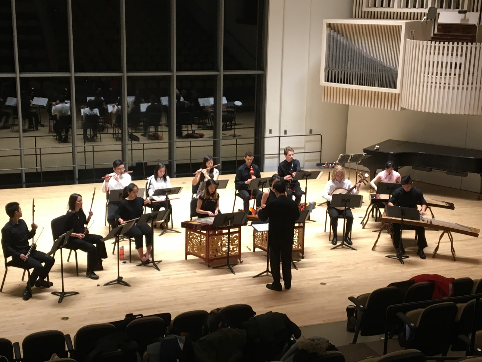 The Ensemble prepares for the show during dress rehearsal (photo courtesy of the Swarthmore Music Department)