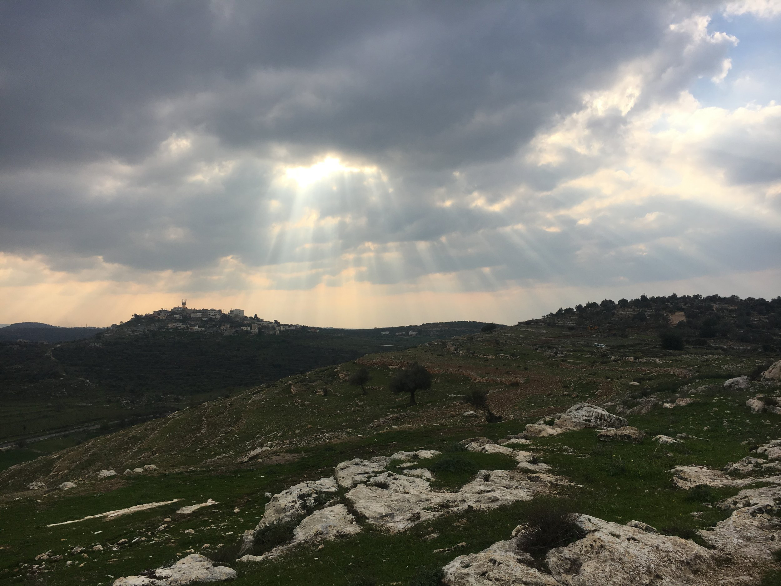 The land of Nabi Saleh, West Bank. Visible atop a hill is an Israeli settlement.