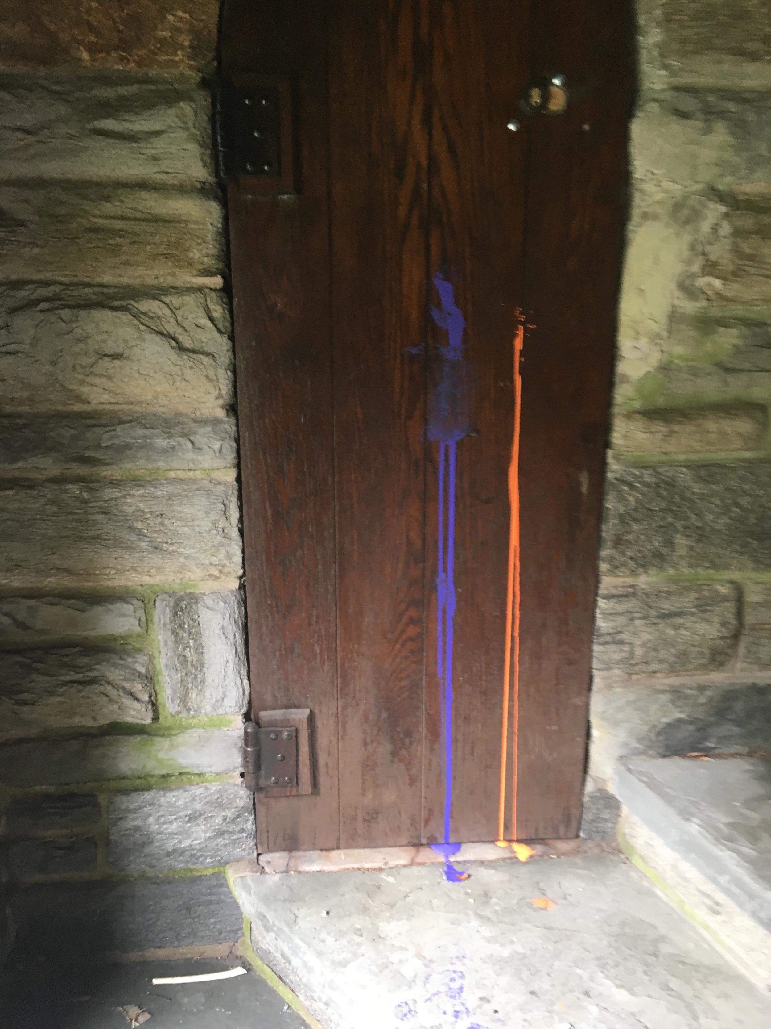 Paint on the Intercultural Center door