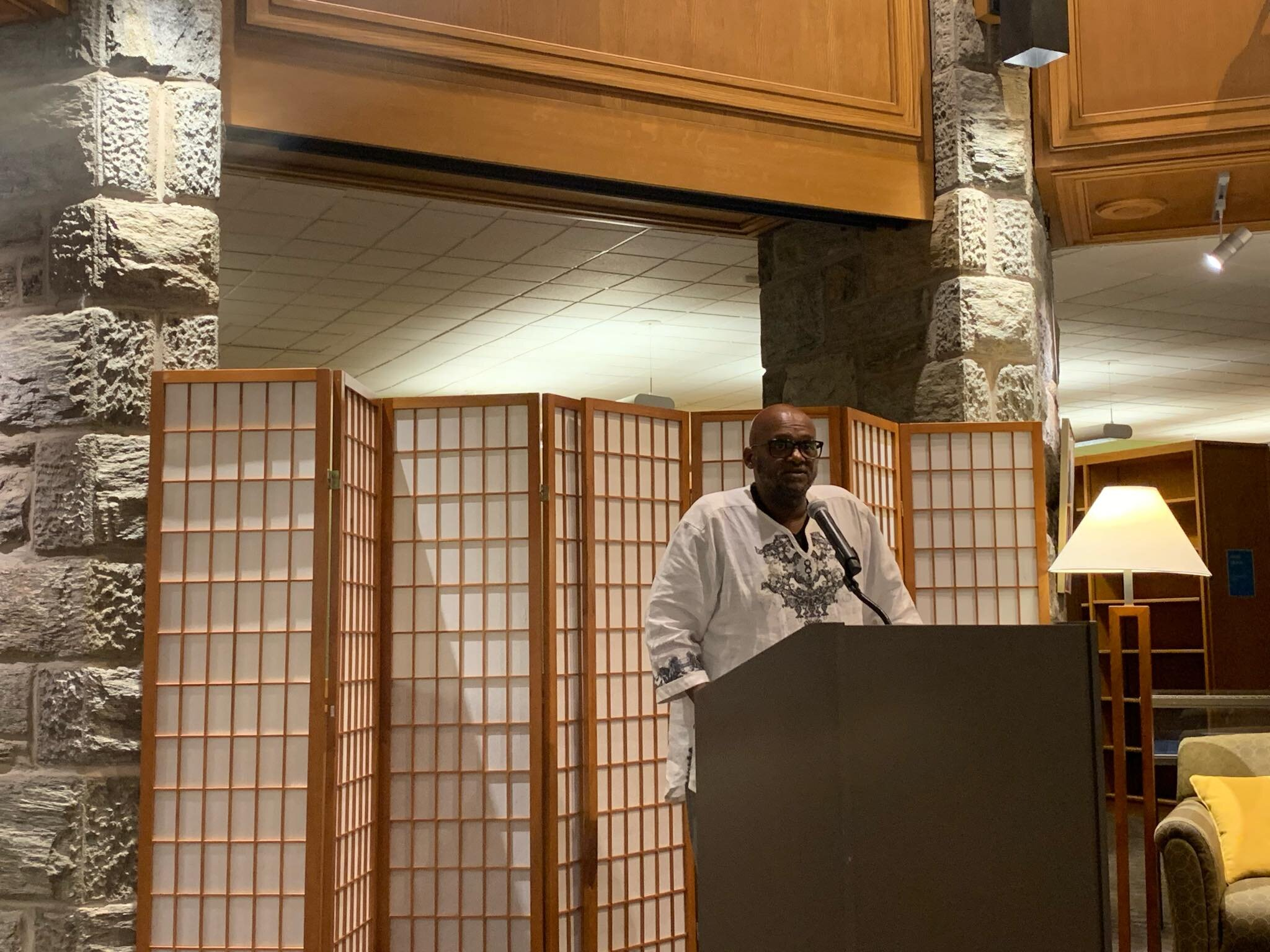 Dion Lewis, Associate Dean and Director of the BCC, speaking at the reception in McCabe library on Sept. 10.