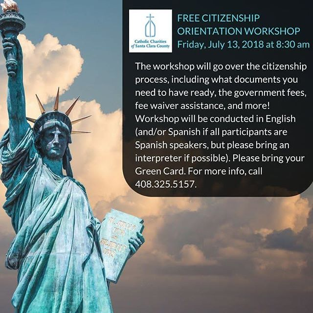Free Citizenship Orientation Workshop Tomorrow!  July 13, 2018, 8:30 am. Bring your Green Card! We will go over the citizenship process, including what documents you need to have ready, the government fees, fee waiver assistance, + more! For more info: 408.325.5157.  #ChangingLivesForGood https://t.co/bhR6QrEp2B