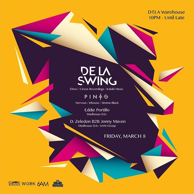 We're coming in HOT tonight with @delaswing 💥💥 Tickets are still available on @resident_advisor so don't sleep on this one!😎👊🏼 Our boys @djeddieportillo, and @d_zeledon will get things crackin'!! . . Message @madhousedjsla or @6amgroup for ticket link and info.! . . #techhouse #undergroundmusic #losangeles #techhousemusic #techhouselovers #djs #partytime #fridaynight #electronicmusic #undergroundmusic #pioneer #pioneerdj #pioneerdjusa #techhouseallnightlong #getyourgrooveon #dtla #warehouse #warehouseparty