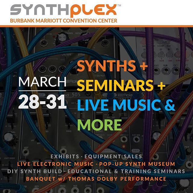 Very pleased to announce that we're performing at Synthplex at the end of this month in Burbank! 🤖 This event brings together the many facets of synthesis; hardware, software, and everything in between. As live performers, we utilize many of these tools, and proudly support all of them as a means of musical expression.  Over the weekend a wide array of speakers, vendors, and live performers will showcase the diversity of ideas that can be expressed with these devices, while bringing together the vital community that has grown around them. We perform Thursday night at 8pm, but each day of Synthplex 2019 offers something worth checking out. Come out, support, and maybe learn something too! 👇INFO.LINK BELOW👇  https://www.facebook.com/events/2323706647671810/  #synthplex #synthplex2019 . . #synths #vintagesynth #modularsynth #studiogear #guitarpedals #thingstodoinla #losangeles #laevents #indiemusician #electronicmusician #techno #electronicmusicproducer #djproducer #recordproducer #analogsynth #analogsound