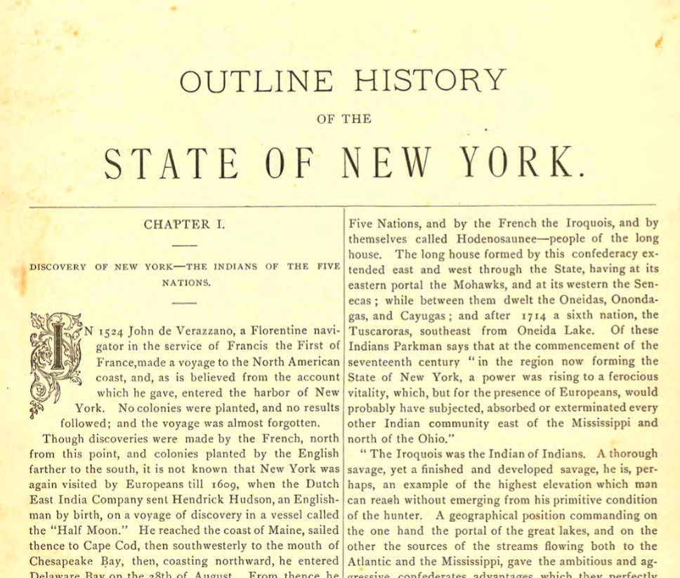 Outline History of the State of New York