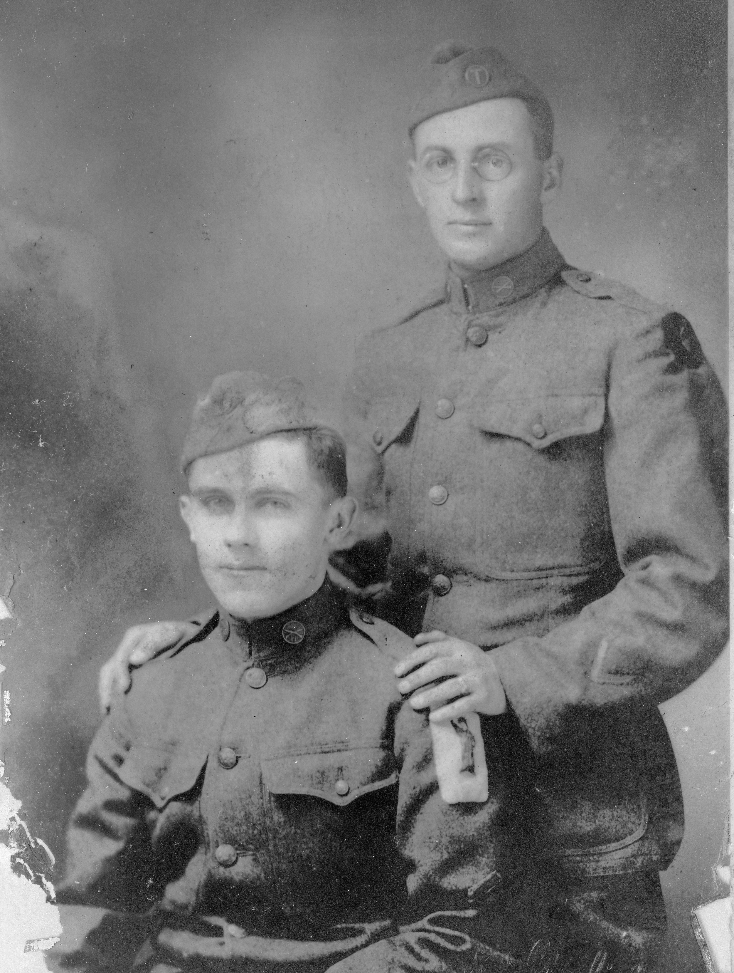 Louis Tremmel and William E. Brady in their uniforms during the First World War.
