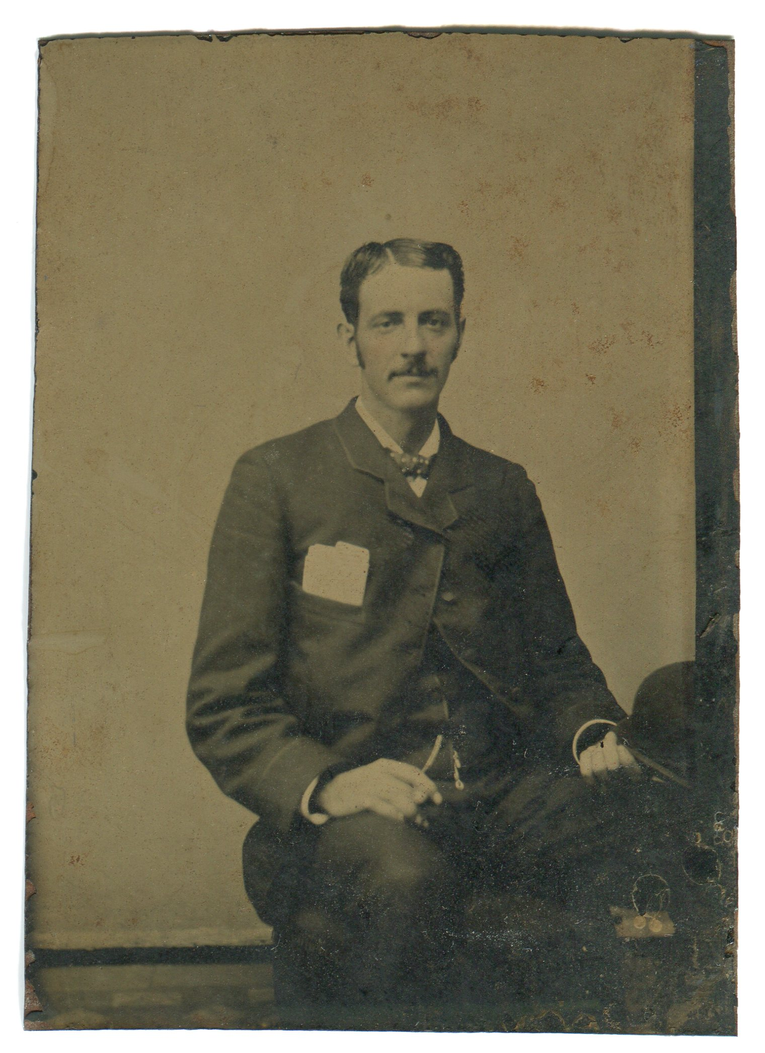 A tintype of William C. Brady from around 1875. Tintypes were cheaper to produce and became the common format in the 1860s.