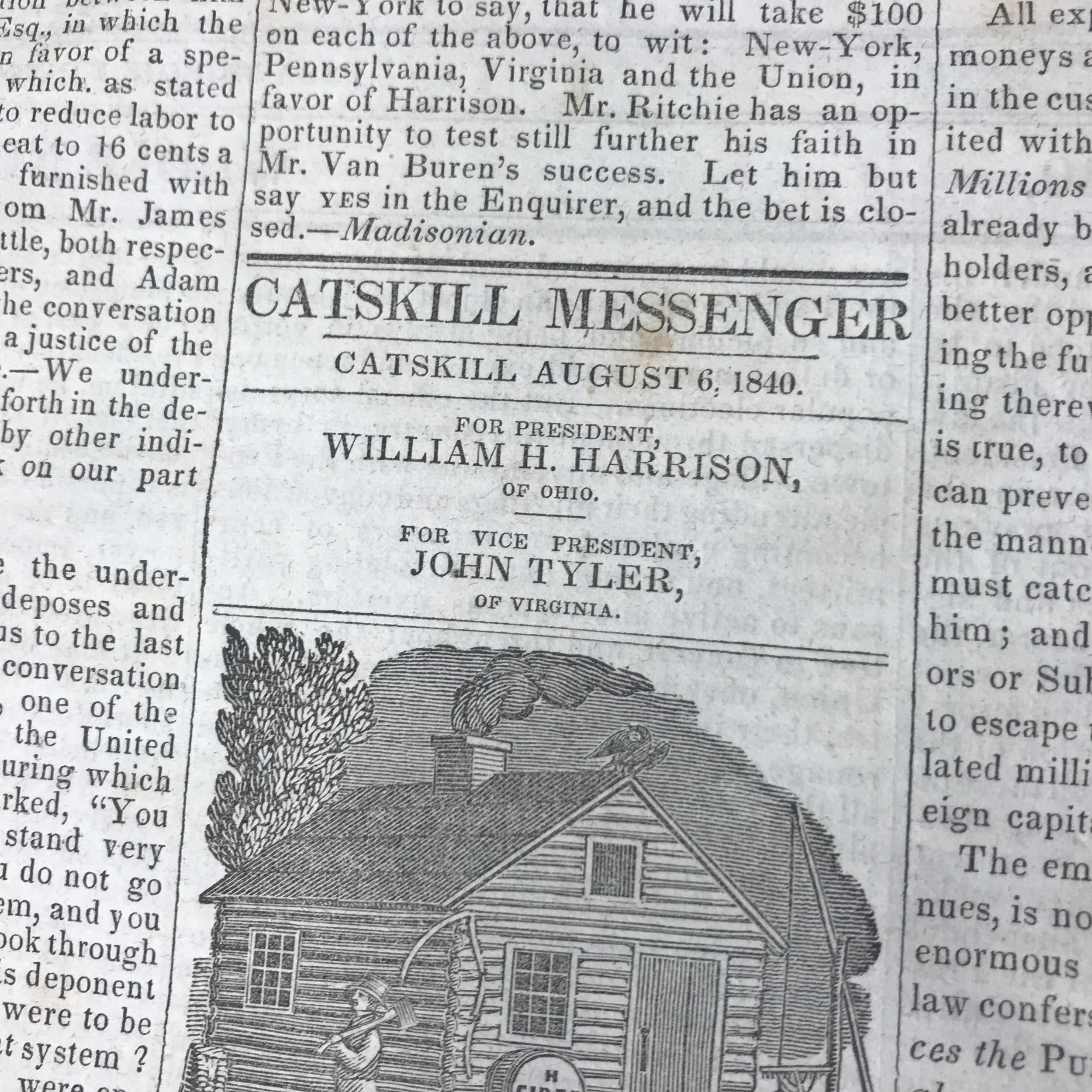 Photo of a column from the Catskill Messenger during Harrison's presidential campaign in 1840.