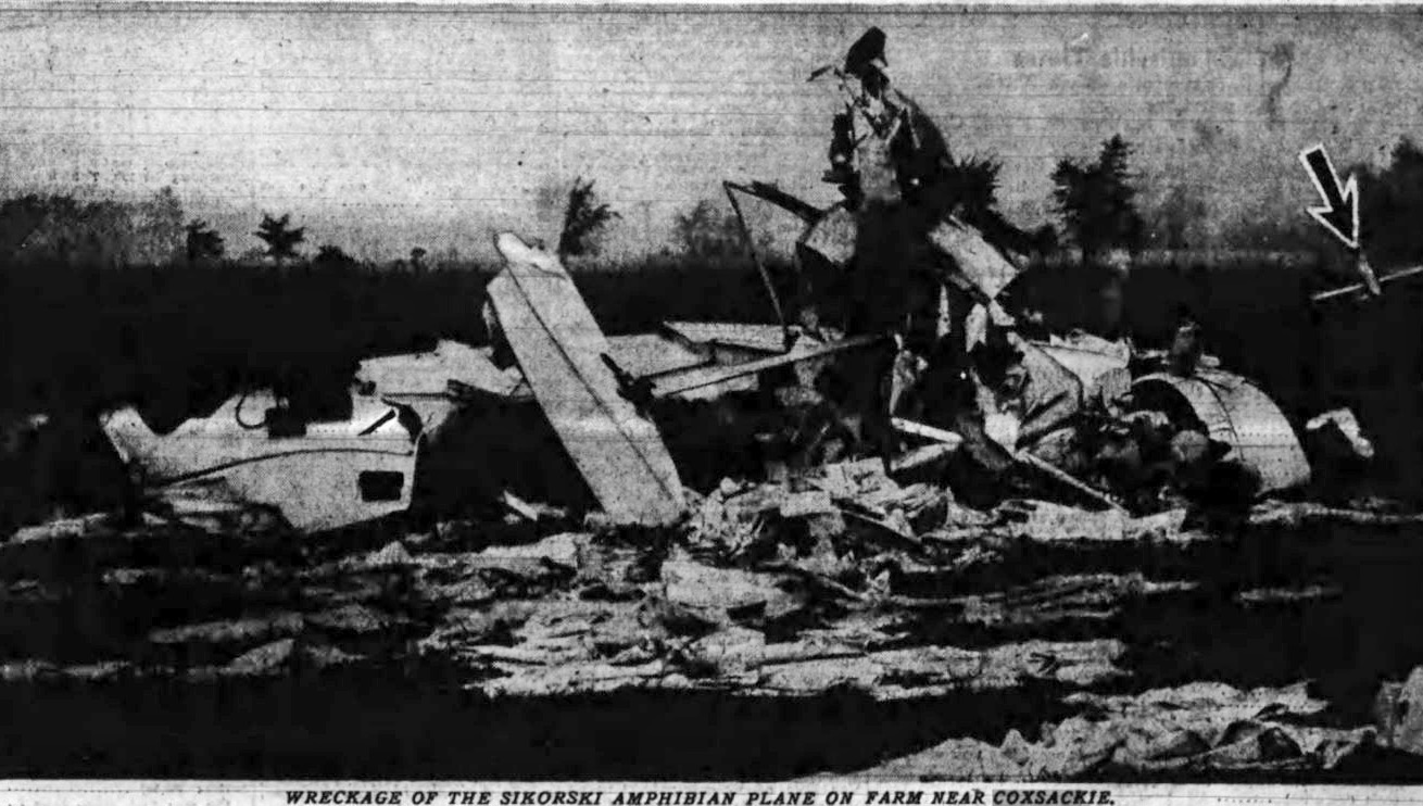 Image of the crashed S-39 on the Swartout Farm in Coxsackie, image courtesy of Paul Vandenburgh.