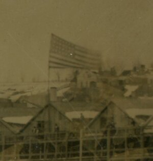 A 28-star flag flying over an ice house on Catskill Creek. Fom an Ambrotype in the Barbara S. Rivette Collection, Vedder Research Library.