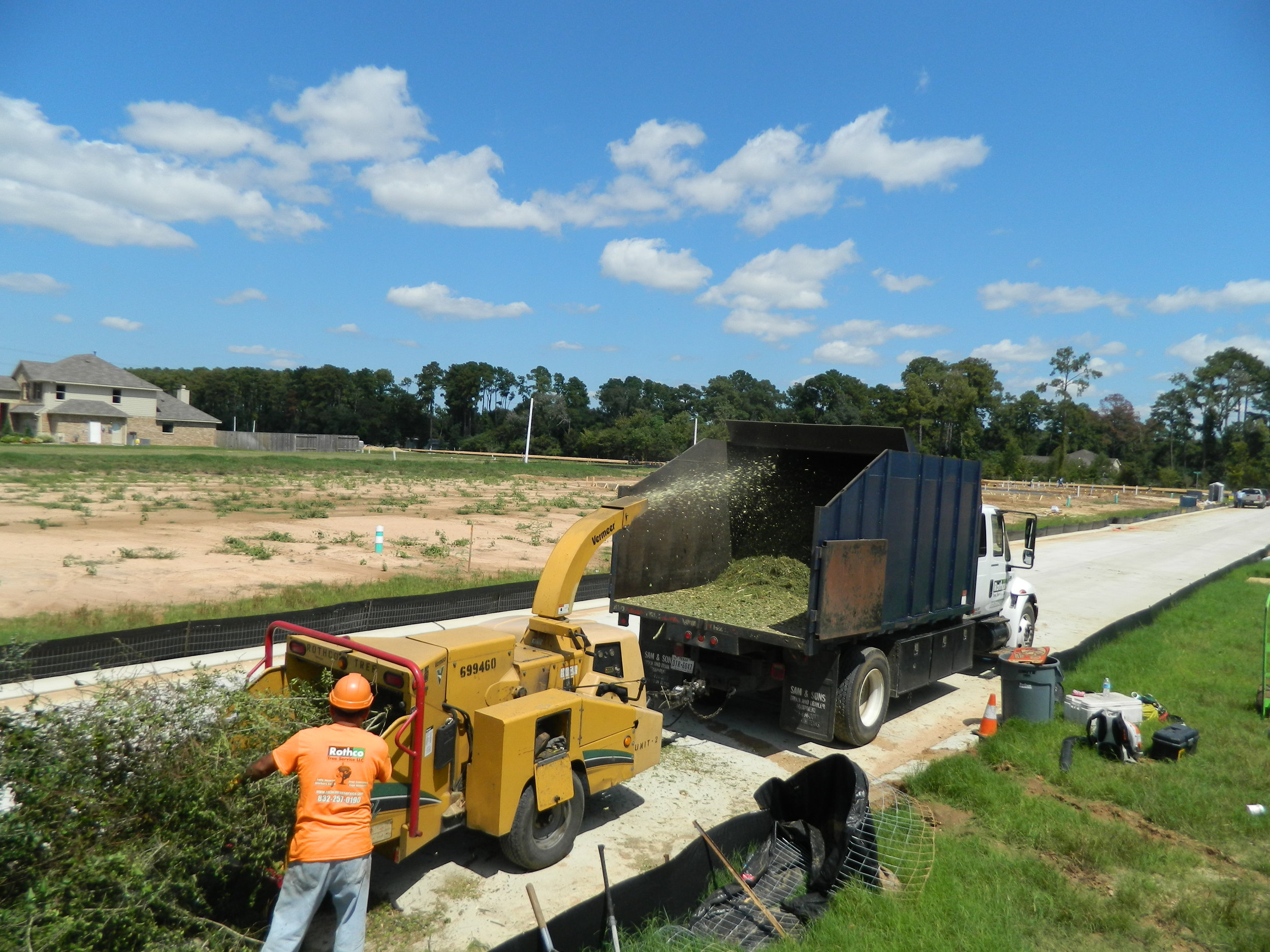 lot and land clearing with the chipper near lake conroe