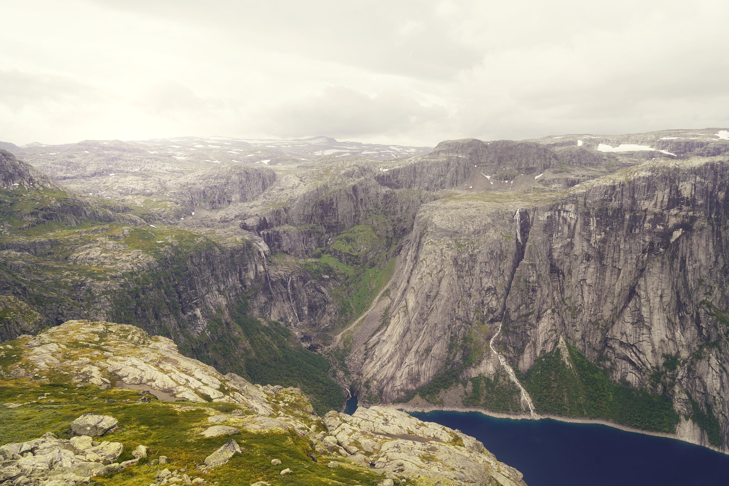 The area around Trolltunga is dominated by steep and wild mountains