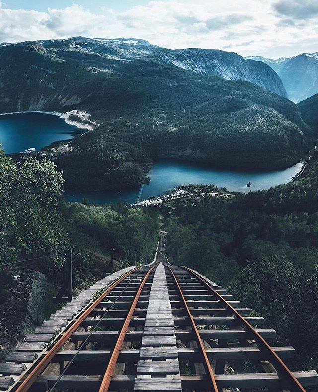 Mågelibanen was built in 1912 to transport workers and equipment high up to the mountain. Some parts are so steep that it feels more like a ladder. It got closed in 2011. 📷@lennart  #trolltunga #trolltungaadventures #visithardangerfjord #visitnorway #norway #fjordnorway #utno #mittnorge