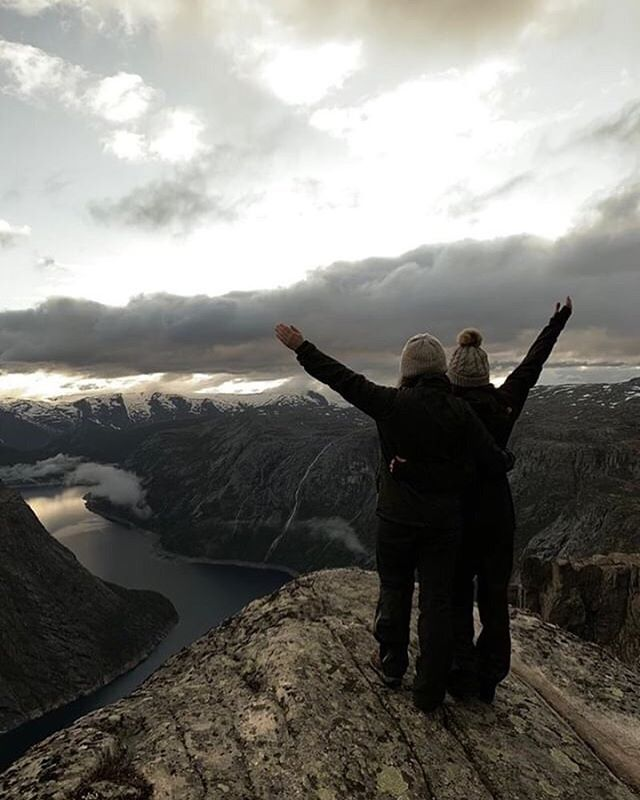 From a windy, rainy, sometimes sunny hike yesterday — still some beautiful moments with a great group of guests!  Loved this one @anitchenga & @stephanie26888 — Thanks for sharing!  #trolltunga #trolltungaadventures #windy #hikingfun #norway