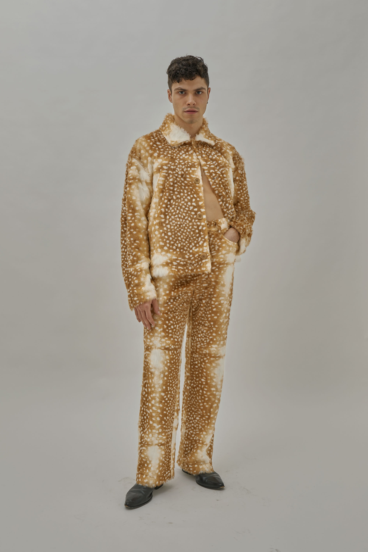 Brian Wears Fallow Deer Suit For One DNA's FW19 Lookbook. Faux Fur.