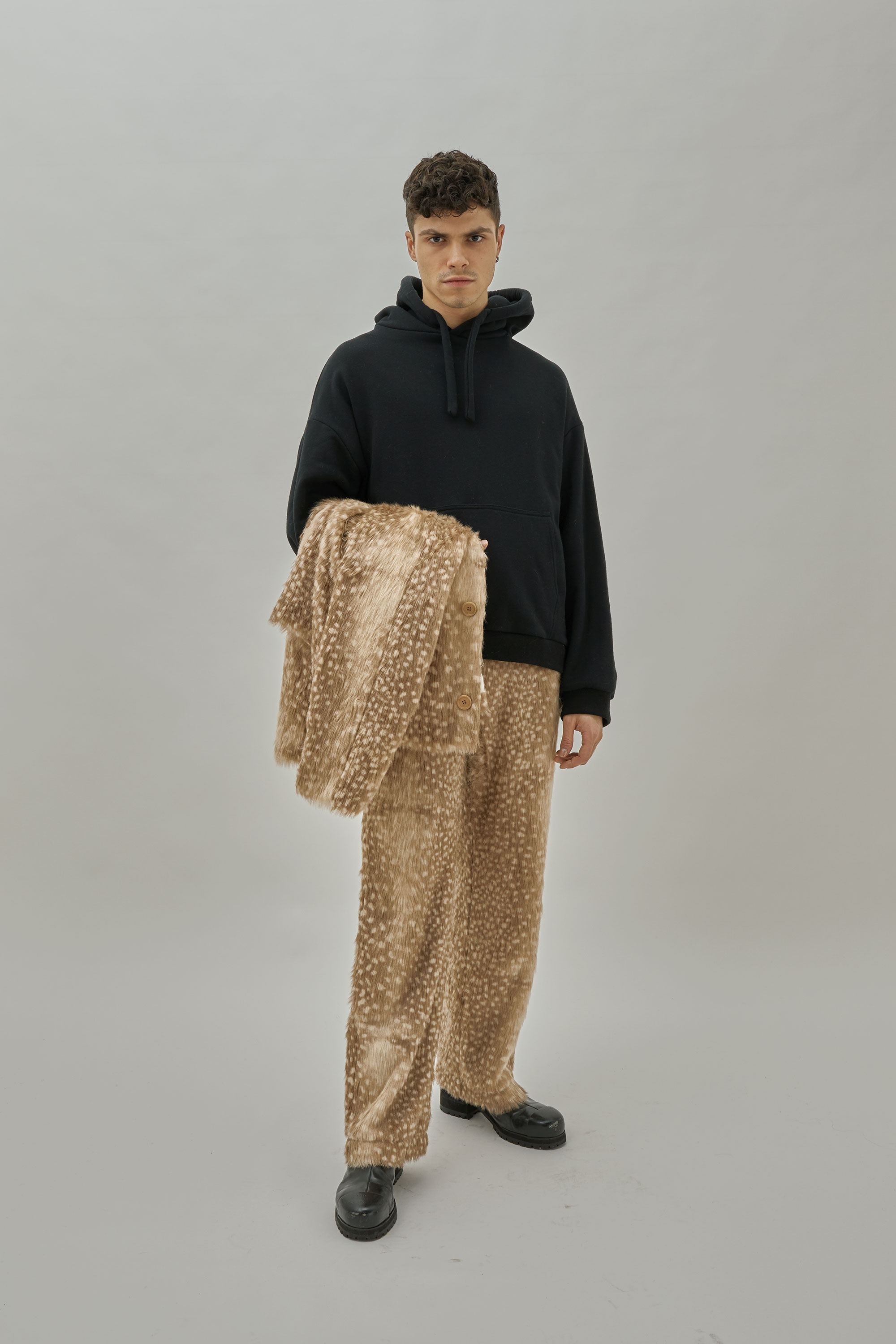 Faux Fur Pant With Gray Fawn Pattern. Gender-neutral.