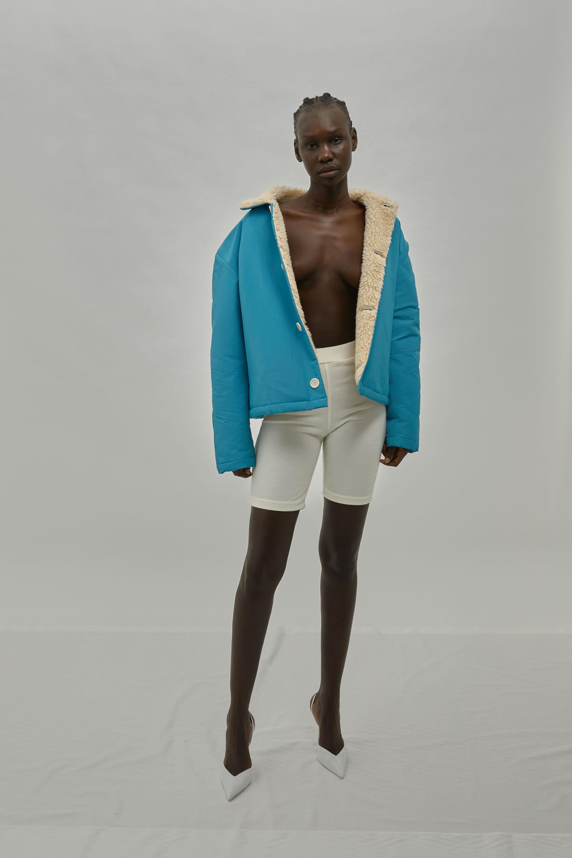 Blue Grosgrain Jacket with Sherpa Fleece Lining For One DNA Lookbook
