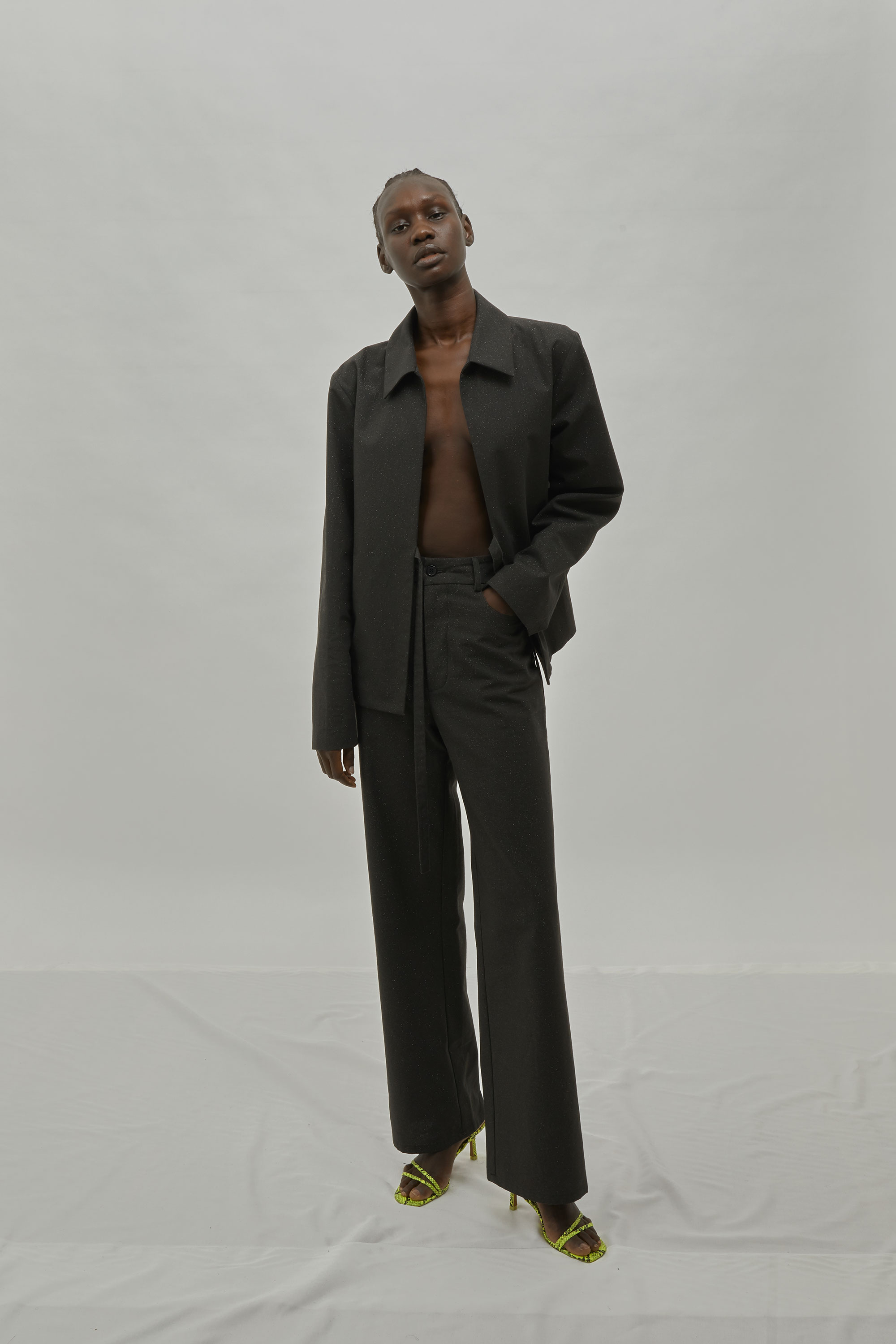 Matching Blazer And Pant Set In Black With Glitter. One DNA Collection FW19.