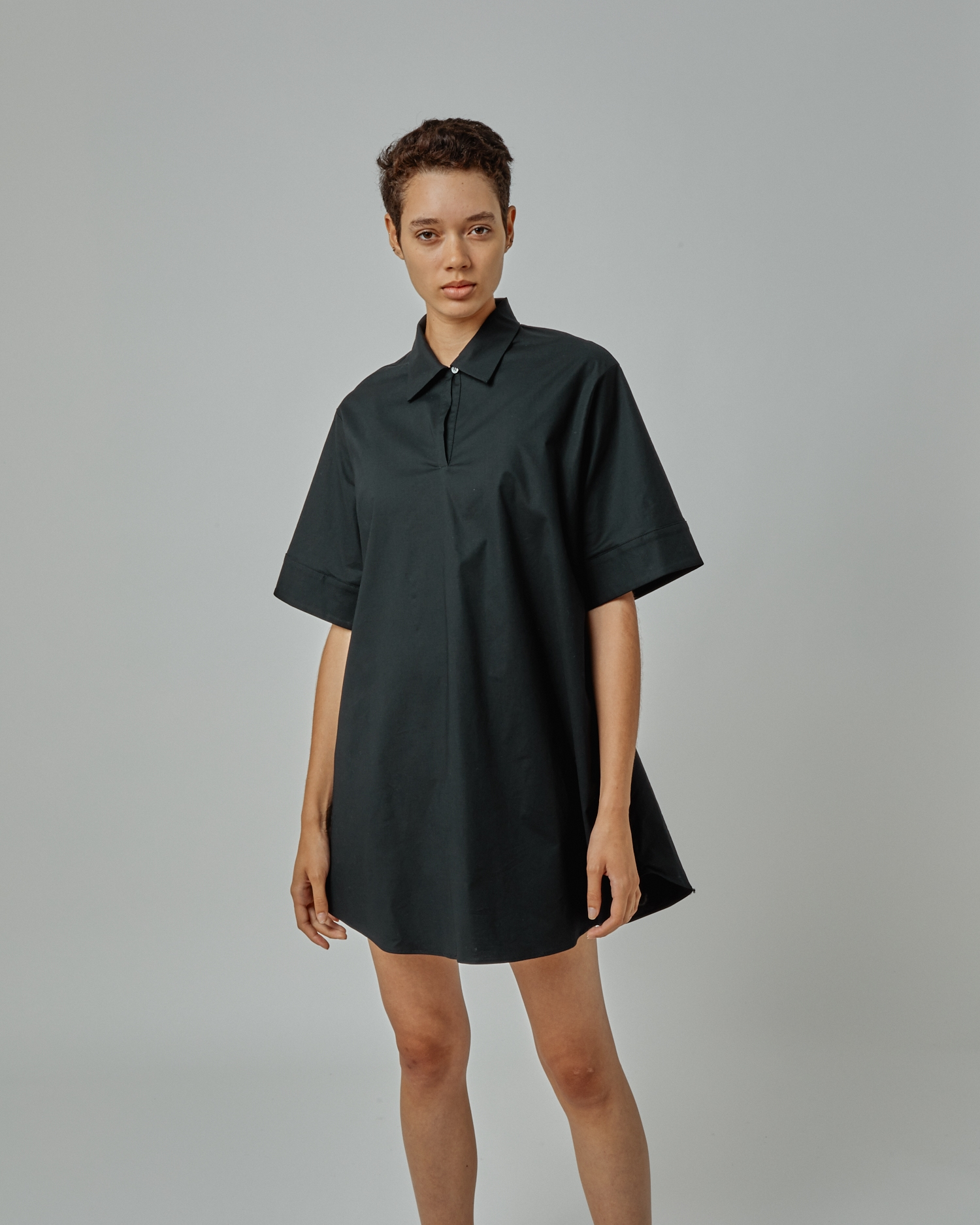 Designer Tunic In Black Poplin. Designed In New York By One DNA