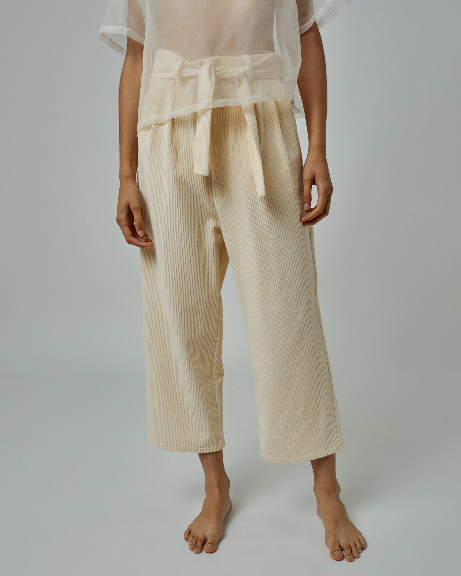 Wide-Leg Paperbag-Waist Pant In Corduroy