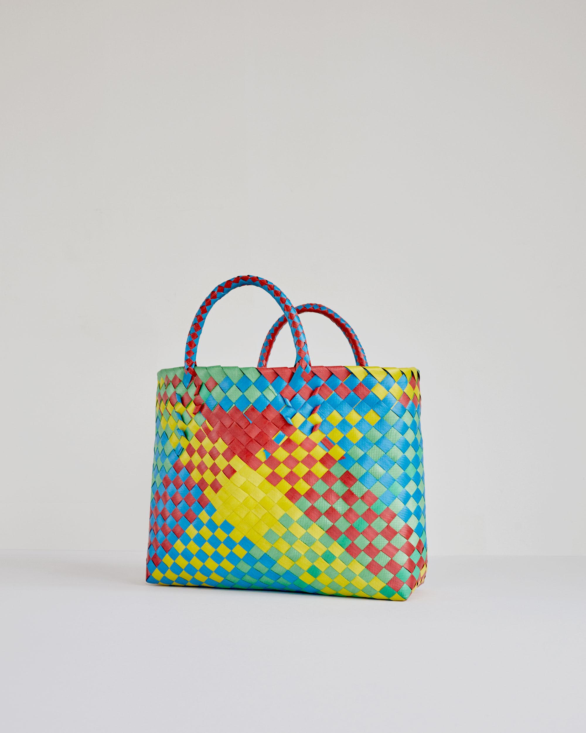 Shop Market Handbag In Multicolor Basketweave