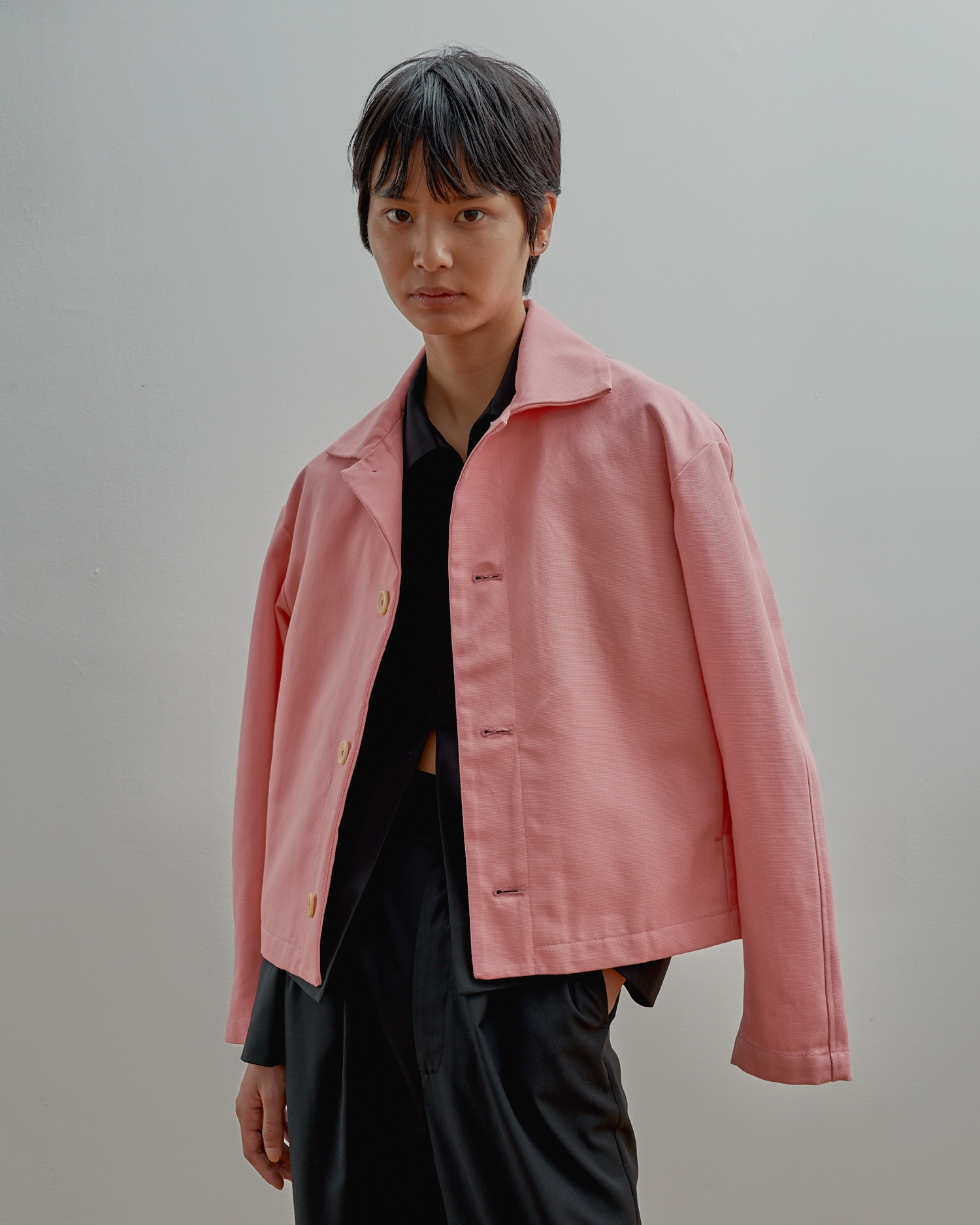 Pink Jacket In Canvas With All Natural Buttons. Sustainable Fashion.