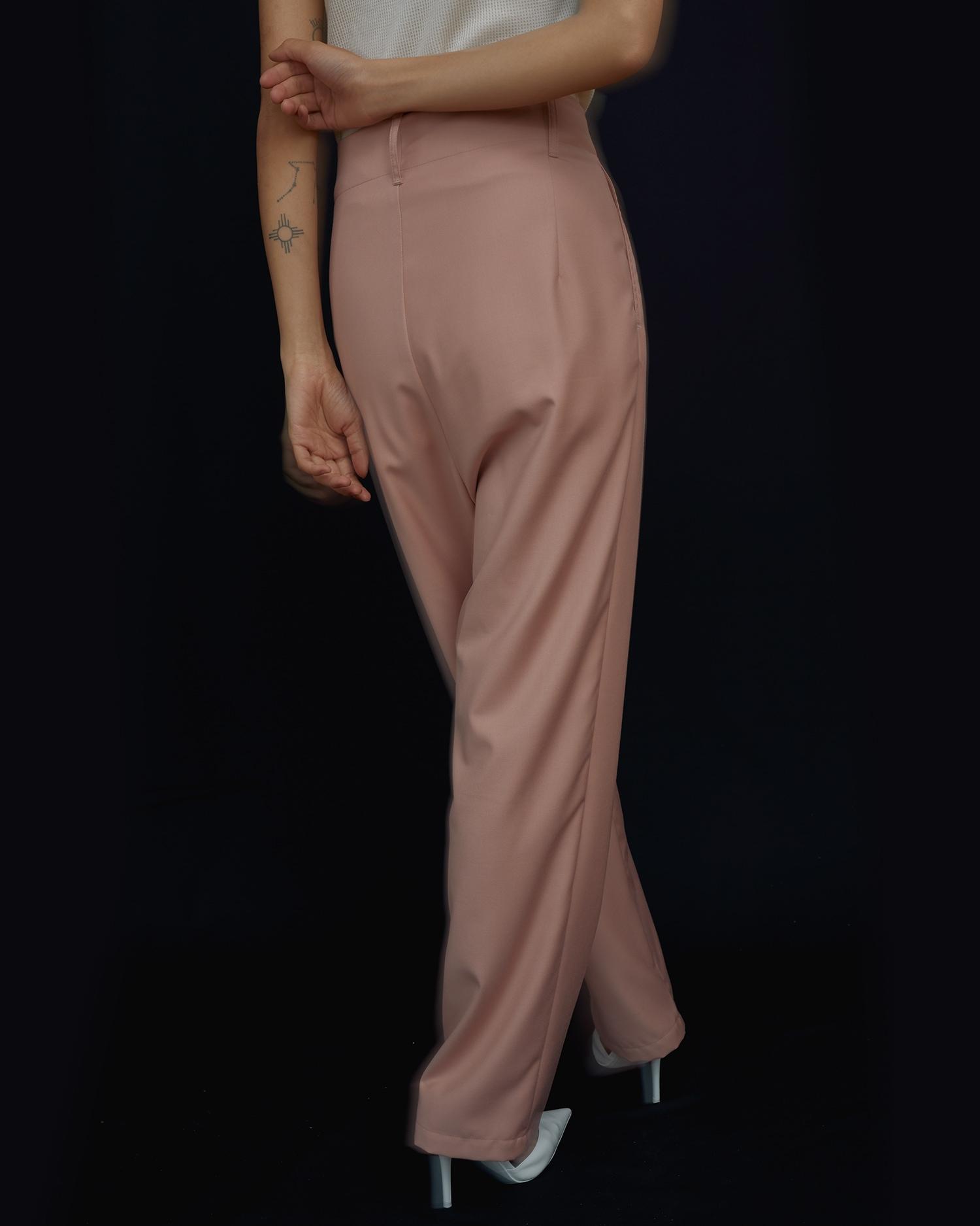 Shop Designer Basics. Pink High Waisted Pants.