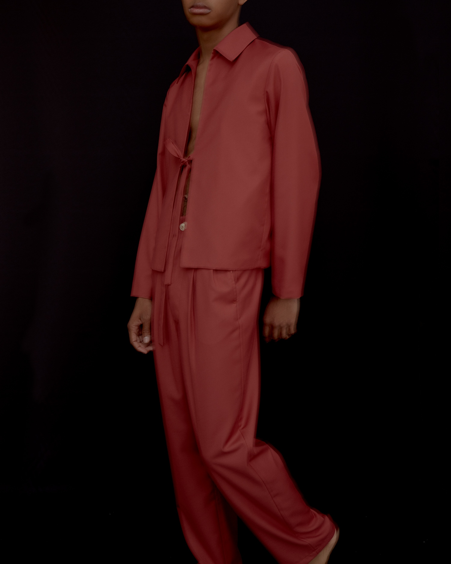 Designer Suit. Casual Blazer and Matching Pleated Trouser In Red.