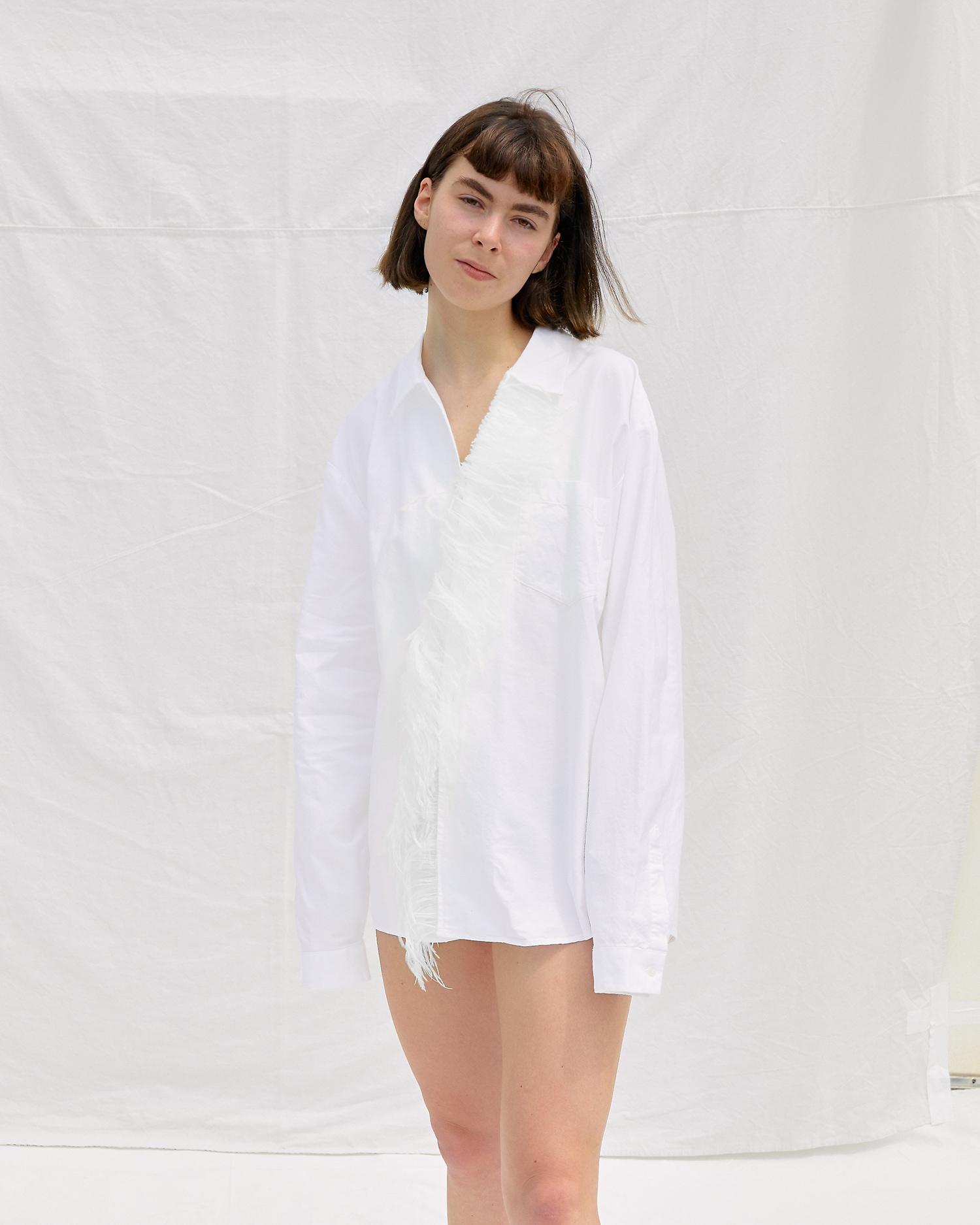 Shop Designer Dress Shirt with Feather Detail at Front. Gender Neutral.