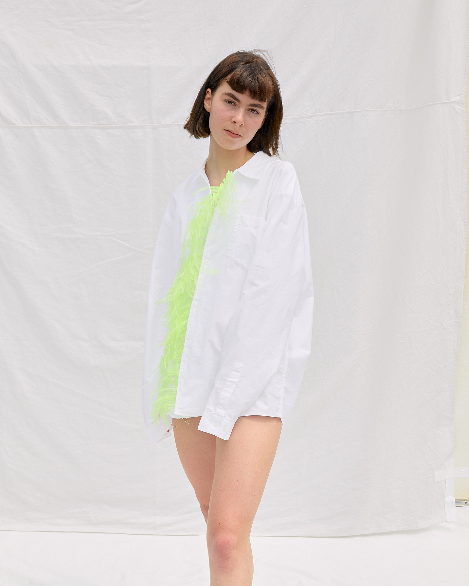 Feather Shirt by One DNA. Reworked Dress Shirt with Bright Green Feather Trim.