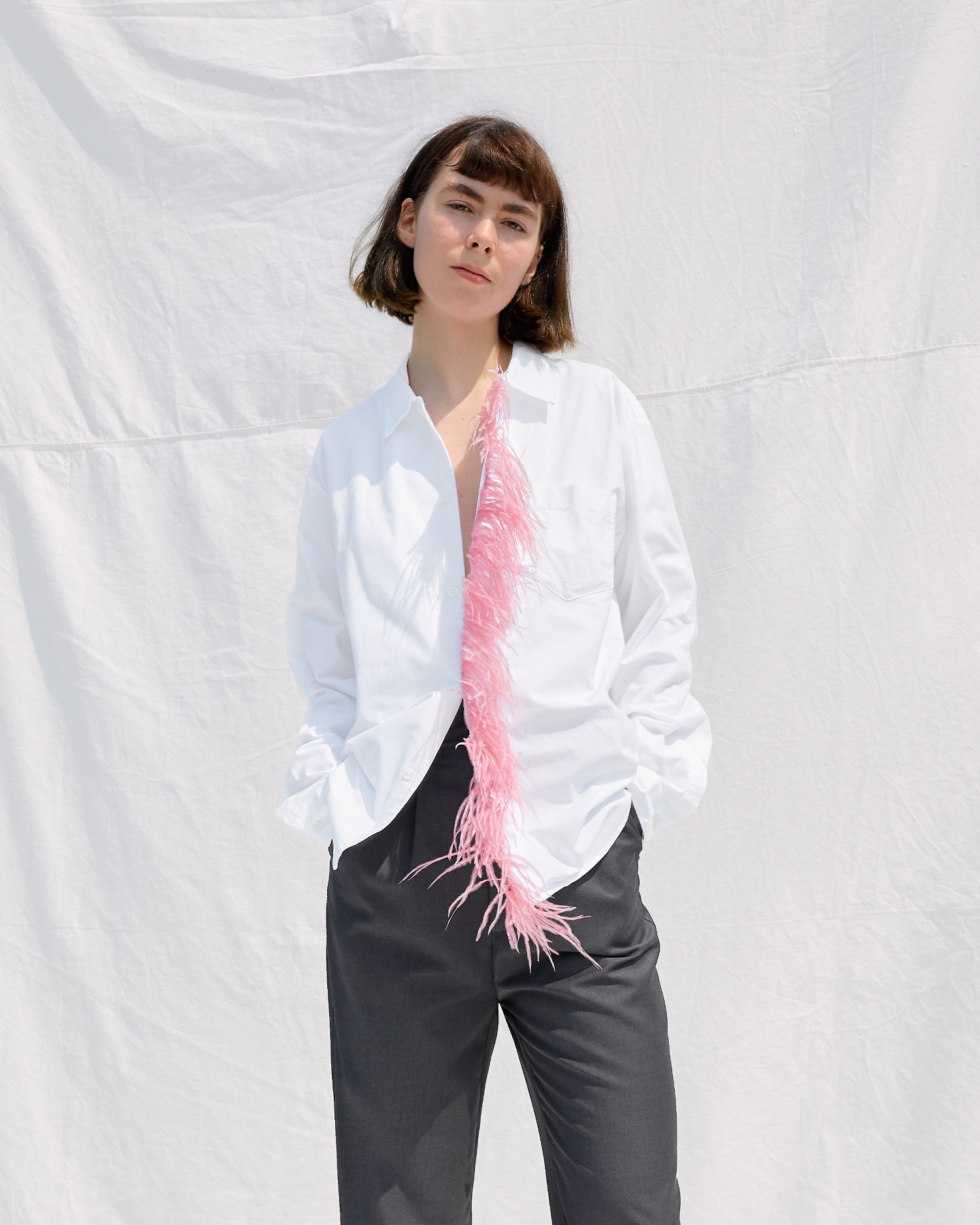 Shop Dress Shirt with Pink Feathers by One DNA