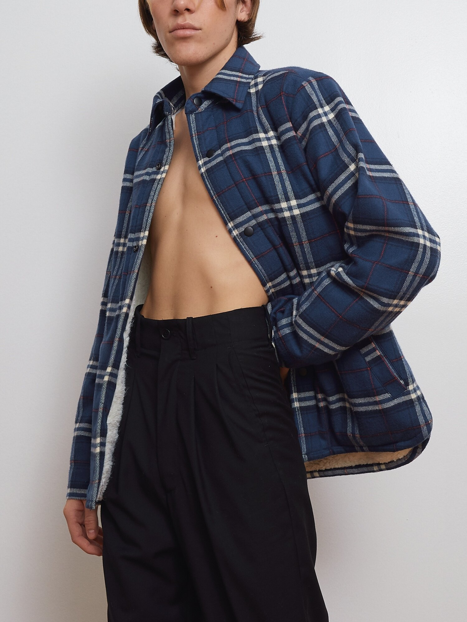 Shop Blue Flannel Jacket With Sherpa Lining