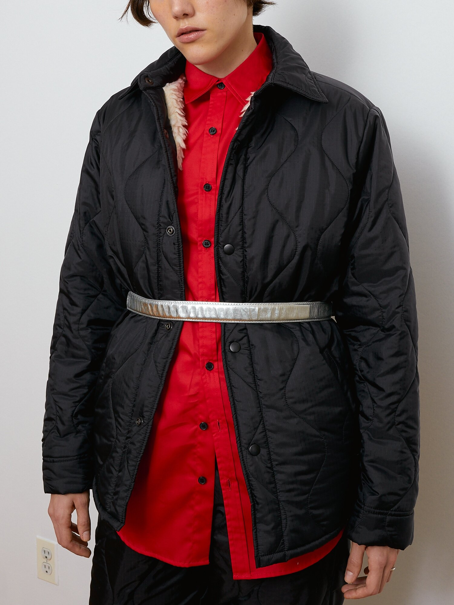 Shop Black Jacket With Sherpa Lining