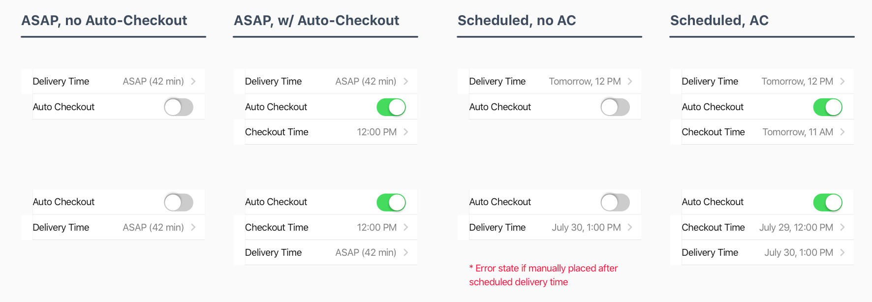 Different states and explorations for how ASAP/Scheduled deliveries could work with an Auto Checkout Time and Specified Delivery Time.