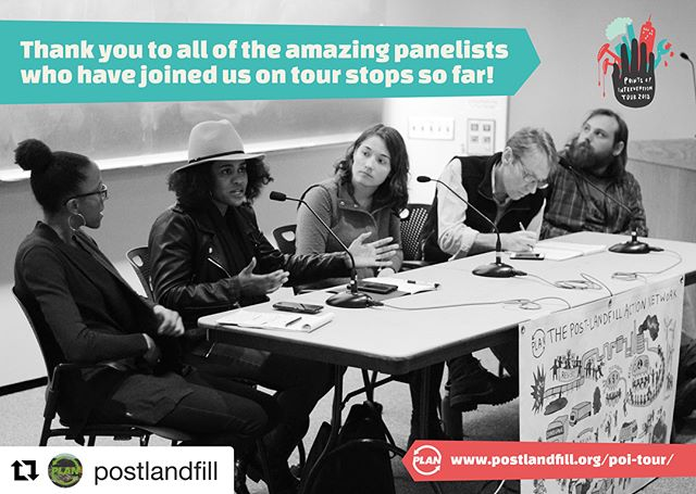 """@postlandfill As we wrap up our stops along the East Coast and begin to head West, we want to take some time to reflect on our past five tour stops and vision where the rest of the tour will take us!  There is no way that we could have done these stops without the incredible brilliance, resilience, labor and energy from students, staff and community members and each supporter of PLAN!  Thank you!  We designed this tour to push ourselves and our campuses  to build and develop our intersectional lens and framework of the Student-Led Zero Waste Movement.  We know that the Zero Waste Movement has failed to acknowledge and recognize the movements that resist white supremacy, capitalism and patriarchy. It has failed to talk about the impacts unsustainable consumption has on poor folk, rural communities, people of color, folks fighting on the frontlines for indigenous sovereignty and access to water. The Points of Intervention Tour is an opportunity for us all to think beyond the individualism of the """"mason jar #ZeroWaste lifestyle"""" and move further towards understanding our positionality and developing strategies about how we can move in solidarity with marginalized groups of people who are bound by daily oppression.  The stuff we consume every day is designed by corporations to be disposable, so that they can sell more of it, more often, and make more money. That never-ending drive for profit is one of the many institutionalized systems of oppression that harm marginalized communities all over the world. From the extraction of resources, to the production, distribution, consumption and disposal of stuff, people and the planet are harmed at every step of the process.  BUT THERE IS HOPE. All over the world there are beautiful examples of resistance, redesign, reuse, repair, and reclamation. The points of intervention are all around us. Together we can dismantle and fix this broken system. No one can do everything, but everyone can do something."""