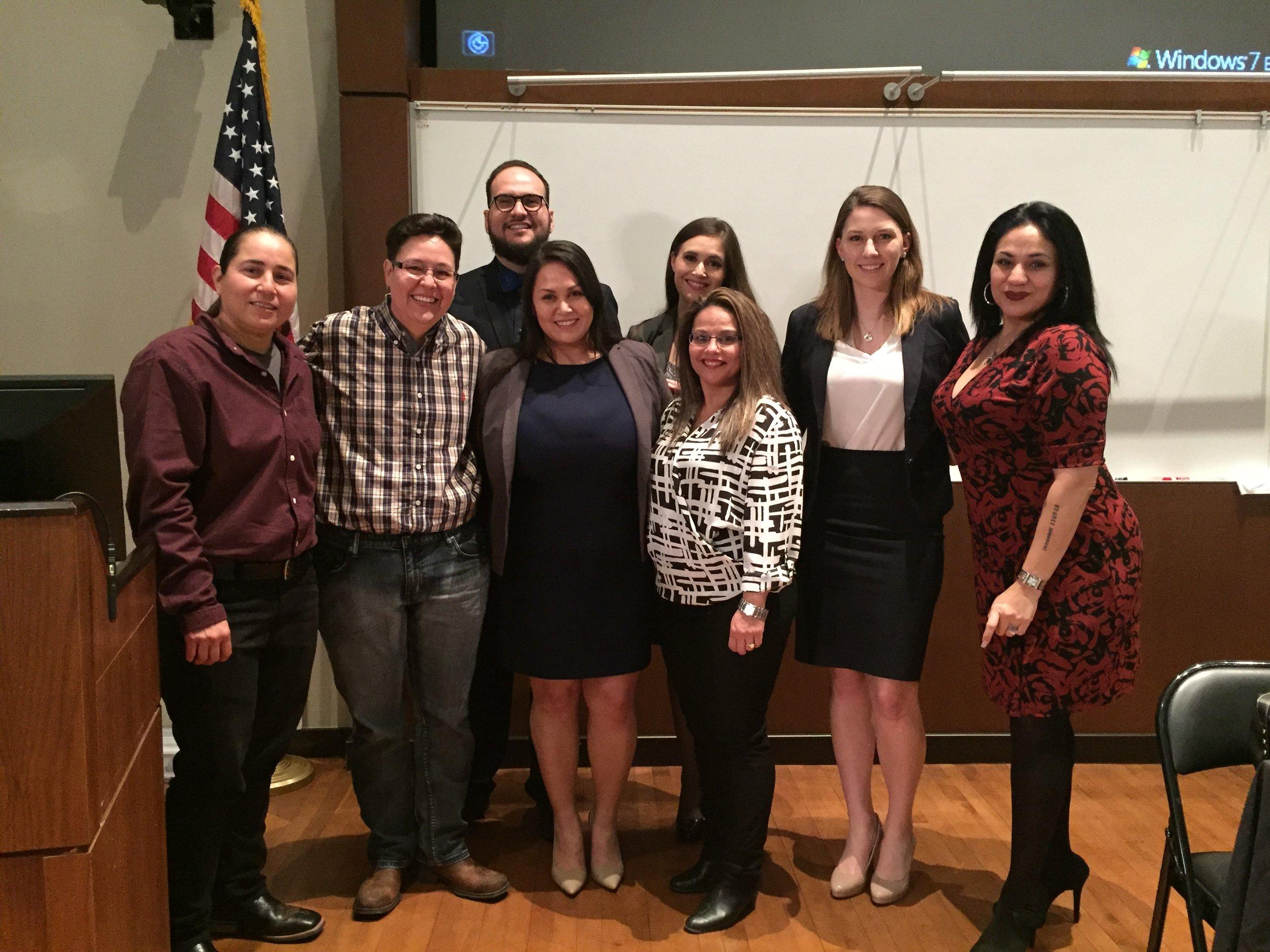 front is Anna Vasquez, Kristie Mayhugh, Mercedes Torres, Elizabeth Ramirez, Ashleigh Hammer, Cassandra Rivera; back is Rudy Moisiuc, Allison Clayton.JPG