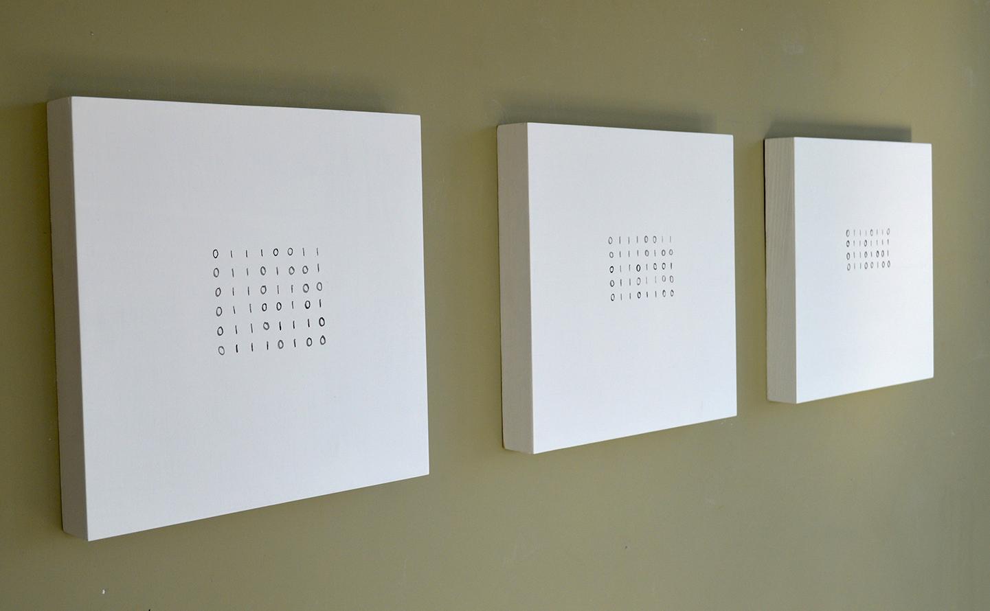 installation view, silent / still / void (left to right)