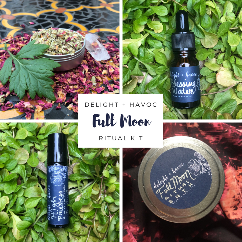 FULL MOON RITUAL KITGlamour Magic, Manifestation + High-Vibe Divination - Contains:1 - FULL MOON Ritual Bath (6 oz tin)1 - HIGH PRIESTESS Anointing Oil (5mL dropper bottle)1 - DIVINATION Herbal Blend (2 oz tin)1 - BLESSING WATER (10mL dropper bottle)1 - Pink Spell Candle (4