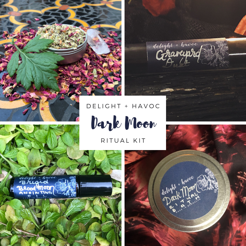 DARK MOON RITUAL KITDivination, Shadow Work + Dark Goddess Energy - Contains:1 - DARK MOON Ritual Bath (6 oz tin)1 - BRIGID BLOOD MOON Anointing Oil (5mL dropper bottle))1 - DIVINATION Herbal Blend (2 oz tin)1 - GRAVEYARD DUST (35mL vial)1 - Black Spell Candle (4
